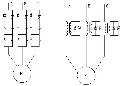 一是将晶闸管直接串联应用,二是开关变压器技术,此两种方式主电路形式
