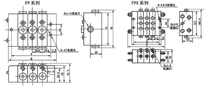 FP-25T  FP-25S FP-30T  FP-30S FP-35T  FP-35S   单线分配器   (5~24MPa)