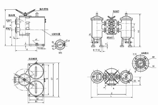 SLQ-32 SLQ-40  SLQ-50  SLQ-65   双筒网式过滤器   (0.6MPa)   JB2302-78