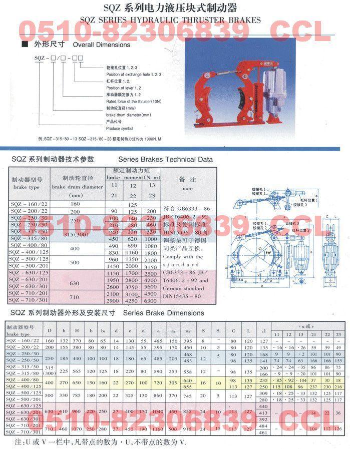 电力液压块式制动器SQZ-630/301 SQZ-710/201 SQZ-710/301