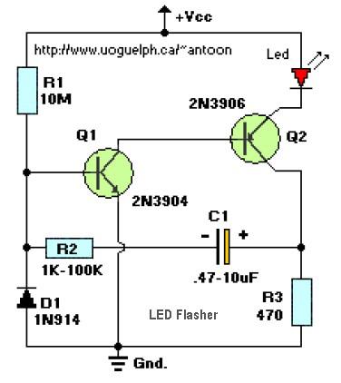 led的闪光2晶体管电路原理图分析
