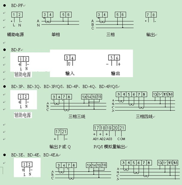 国内电力变送器生产厂家、型号品牌繁多,主要常见的产品有:深圳亚特尔PROEXS32,PROU31/U32/U33、PROi31/i32/i33、PROF31、PROL31、PROP31/Q31、PROS32、PRODi31/Du31;丹东华通测控ET-700、ET-700 P1/Q1、ET-700 P3/Q3、ET-700 P4/Q4、ET-700 I1/V1、ET-700 I2/V2、ET-700 I3/V3;昆明阳光PM9871A、PM9873A、PM9873WH、PM9871C;上海二工BA800-