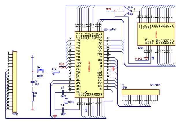 DMF50174液晶屏@显示控制系统的应用设计: 液晶显示技术是近代电子技术的一种高新技术产物。液晶显示器具有厚度薄、适于大规模集成电路直接驱动、易于实现全彩色显示的特点。液晶显示的原理是利用液晶的物理特性,通过电压对其显示区域进行控制,有电就显示黑色,这样就可以显示出图形。 本文针DMF50174液晶屏@显示控制系统的应用设计,在硬件设计方面,采用SED1330作为液晶控制板来接收MPU指令和数据并驱动和控制液晶显示器,其和62256共同构成驱动模块。8051作为MPU板用来发出控制指令,其和2764、